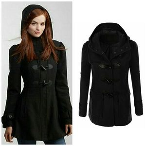 Aeropostale Toggle Duffle Hooded Wool Jacket